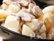 Вегетарианска яхния от картофи, гъби печурки и топено пушено сирене